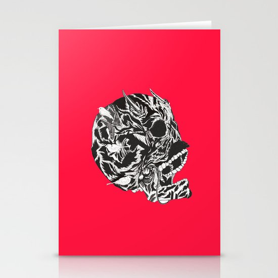 Skull Moustache Stationery Cards