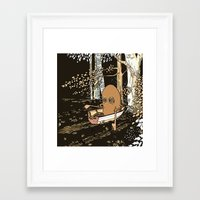 rowing Framed Art Prints featuring Forest Rowing by Emily Joan Campbell