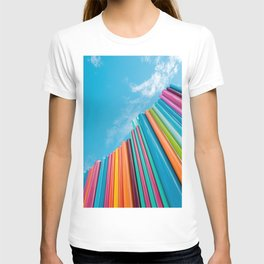 Colorful Rainbow Pipes Against Blue Sky T-shirt