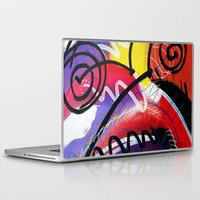 kandinsky Laptop & iPad Skins featuring I Feel Fine - Whirly Swirls Splashy Aqua Turquoise Blue Red Yellow  Fine Art Abstract Painting by Mark Compton