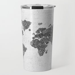Mandalas on Rustic White Concrete World Map Art Travel Mug