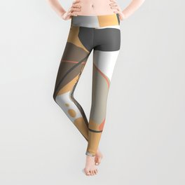 Playful Modern Abstract Shapes And Lines Leggings