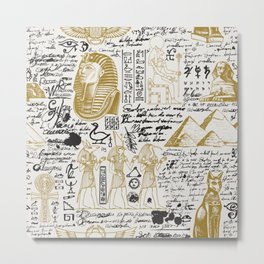 Seamless pattern on the Ancient Egypt theme with unreadable notes Metal Print