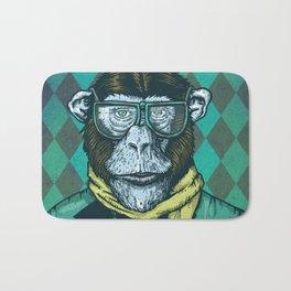 Hipster Chimp Portrait Bath Mat