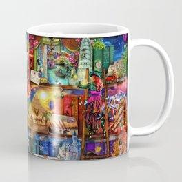 World Travel Book Shelf Coffee Mug