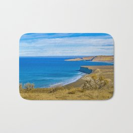 Landscape View from Punta del Marquez Viewpoint, Chubut, Argentina Bath Mat
