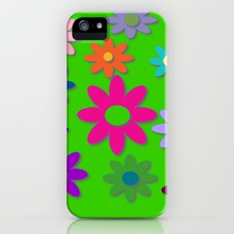 Flower Power - Green Background, Bright Colors, Fun Flower Power Desig iPhone Case
