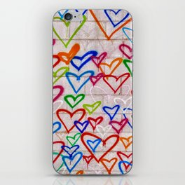 Photograph of Hearts on a Wall, street art iPhone Skin