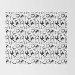 Wine Lovers Illustrated Wine Glasses and Wine Bottles Throw Blanket