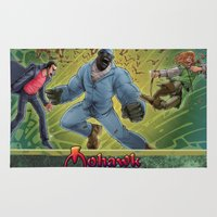 robin hood Area & Throw Rugs featuring DRACULA VS. ROBIN HOOD VS. JEKYLL & HYDE! by Eco Comics