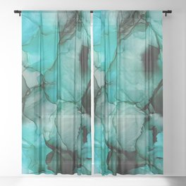 Mystic Water: Original Abstract Alcohol Ink Painting Sheer Curtain