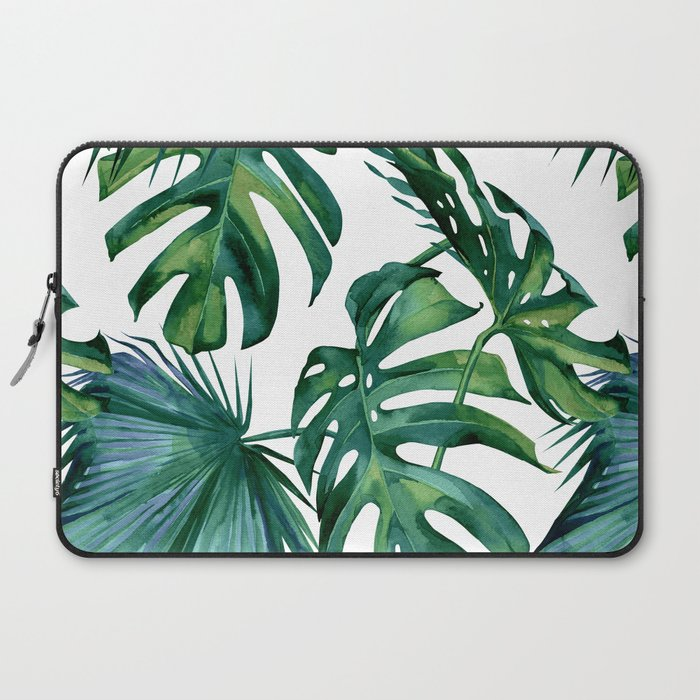 Classic Palm Leaves Tropical Jungle Green Laptop Sleeve