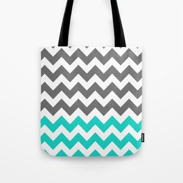 Gray and Turquoise Zigzags  Tote Bag