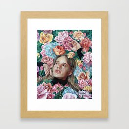 Florimania, portrait of young girl woman in flowers, colorful rainbow, bright, romantic Framed Art Print