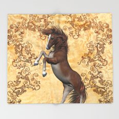 Awesome brown horse  Throw Blanket