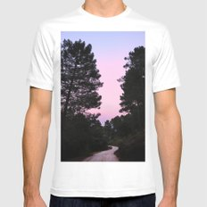 Pink sunrise. Into the woods. White MEDIUM Mens Fitted Tee