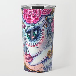 Pink Victorian Queen of Hearts wearing roses in Sugar Skull Make up for Day of the Dead Festival Travel Mug