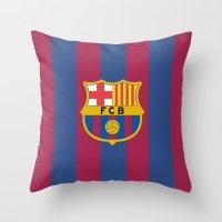 neymar Throw Pillows featuring Barcelona by Kesen