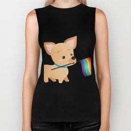 LGBT Gay Pride Flag Chihuahua Biker Tank