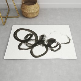 smear of black paint // modern abstract art // minimalism // black and white // stylish, loft style Rug