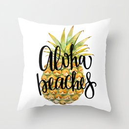 Aloha Beaches Throw Pillow