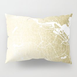 Amsterdam Gold on White Street Map Pillow Sham