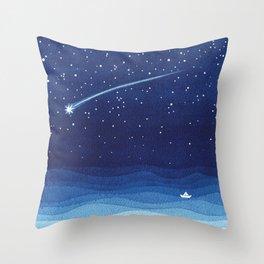 Falling star, shooting star, sailboat ocean waves blue sea Throw Pillow