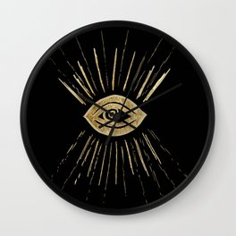 Evil Eye Gold on Black #1 #drawing #decor #art #society6 Wall Clock