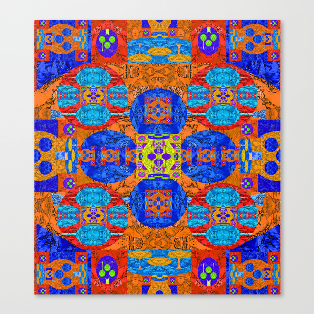 Vibrant Rug Motif Quilt Design Canvas Print by Carlieamberpartridge CNV8357862