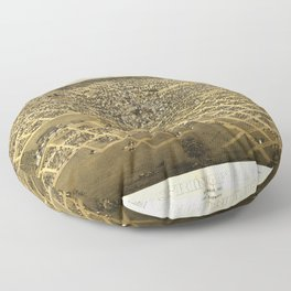 Aerial View of Springfield, Illinois (1867) Floor Pillow