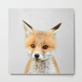 Baby Fox - Colorful Metal Print