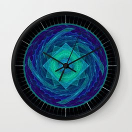 Sinusoidal Sawblade Mandala in Blue-Green Colors Wall Clock