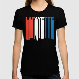 Red White And Blue Lafayette Indiana Skyline T-shirt