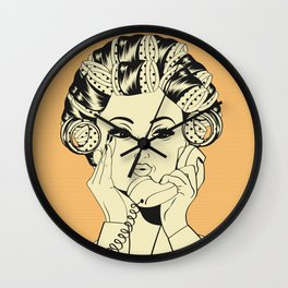 The woman with the curlers Wall Clock