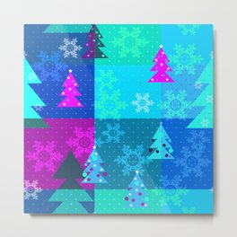 Bright blue Christmas Metal Print