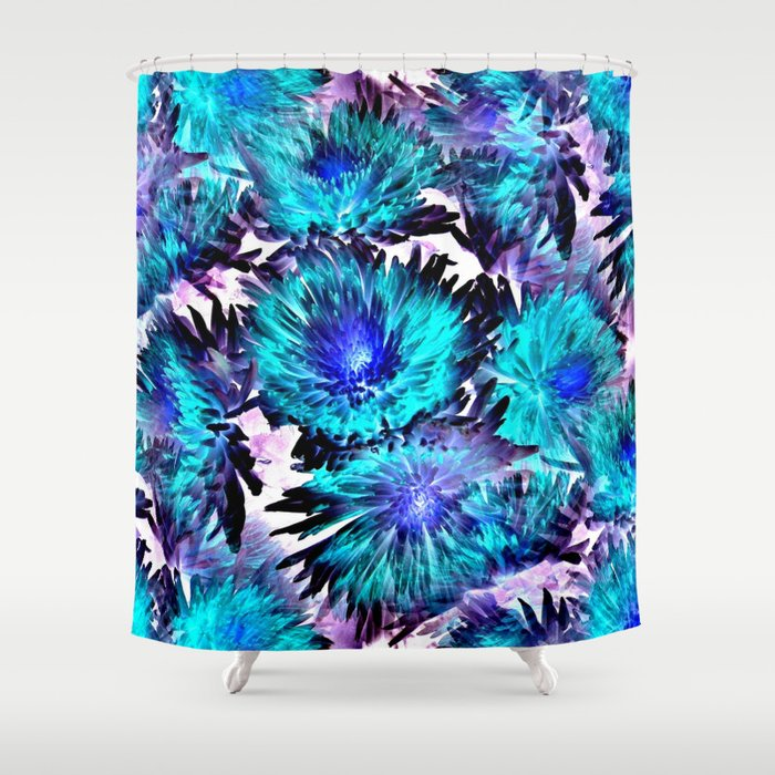 Turquoise Purple Abstract Flowers Shower Curtain By Costa