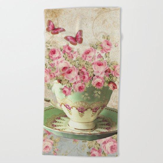 Tea Flowers #4 Beach Towel