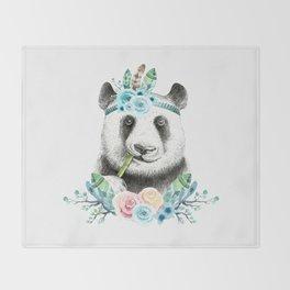 Watercolor Floral Spray Boho Panda Throw Blanket