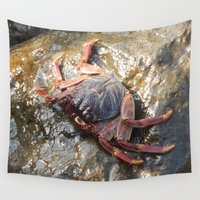 crab Wall Tapestries featuring The Crab by MehrFarbeimLeben