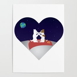 Belka and Strelka on the moon Poster