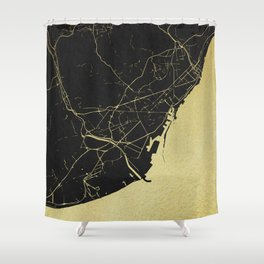 Barcelona Black and Gold Map Shower Curtain