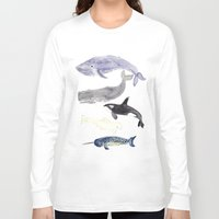 whales Long Sleeve T-shirts featuring WHALES by Shannon Kirsten