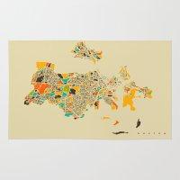 boston Area & Throw Rugs featuring Boston map by Nicksman