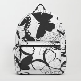 Seamless pattern with hand drawn silhouette butterflies, black and white Backpack