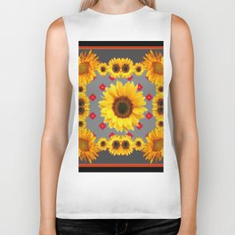 Western Blanket Style Sunflowers Grey Art Biker Tank