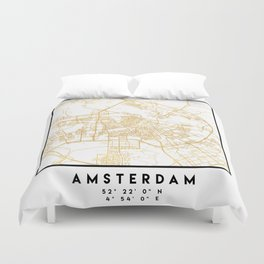 AMSTERDAM NETHERLANDS CITY STREET MAP ART Duvet Cover