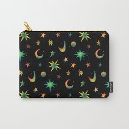 Colorful Watercolor Stars and Moons Pattern Carry-All Pouch