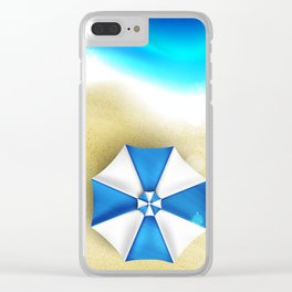 Couple of umbrellas on the beach, graphic art Clear iPhone Case