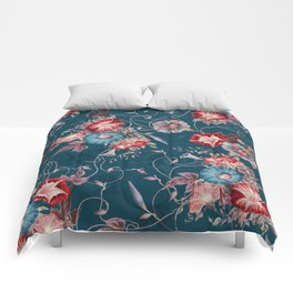 Moody Blue Floral Japanese Morning Glories Comforters