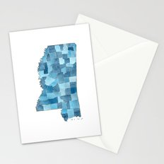 Mississippi Counties Blueprint watercolor map Stationery Cards